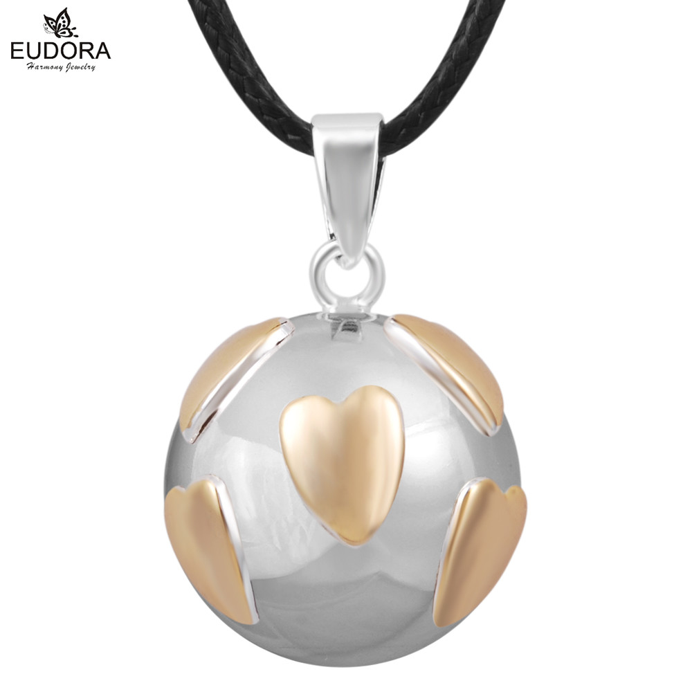 Eudora Angel Caller Sounds Necklace Cute Heart Copper Metal Pendant Pregnancy Jewelry Baby Gift New Style Harmony Bola N14NB242