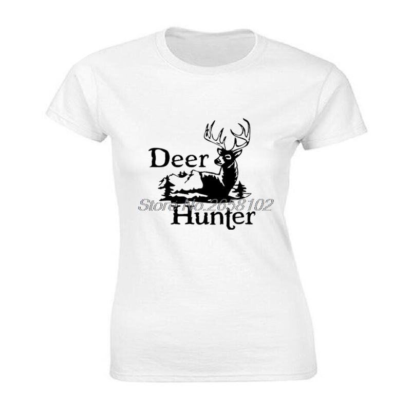 Summer Deer Hunter Hunt Club Print T-shirt Casual Women Cotton Short Sleeve T Shirt Cool Tees Top Harajuku Streetwear Fitness