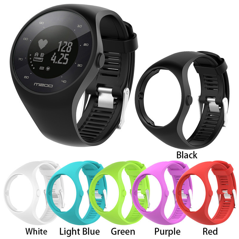 22cm Silicone Replacement Wrist band Protective Case Shell 2-in-1 Colorful Strap for Polar M200 Smart Watch Band for men women