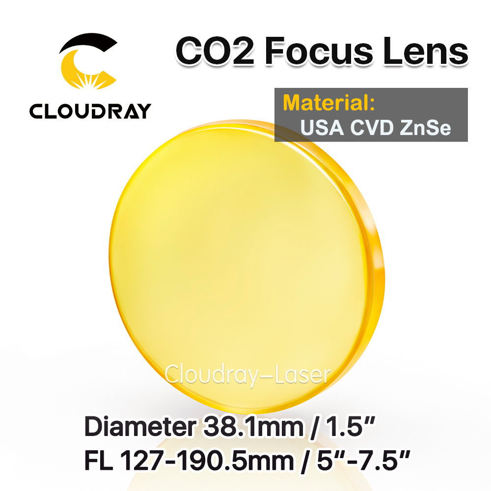 Cloudray USA CVD ZnSe Focus Lens Dia. 38.1mm FL 127 190.5mm 5