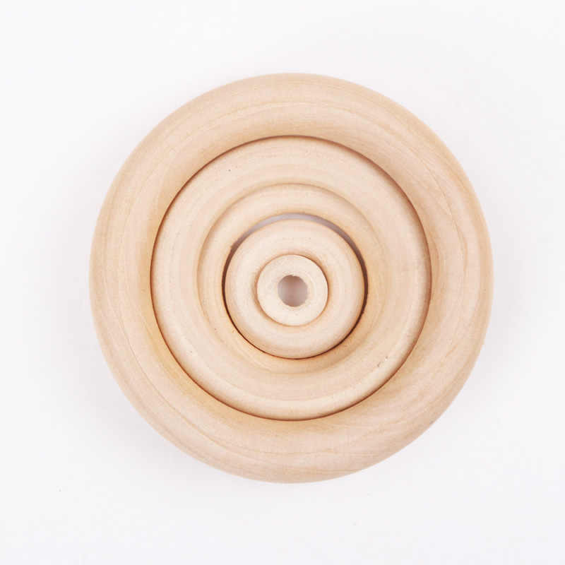 Натуральные деревянные бусины круглой формы кольца ручной работы Детские Прорезыватели деревянные Прорезыватели Набор 15-70 мм