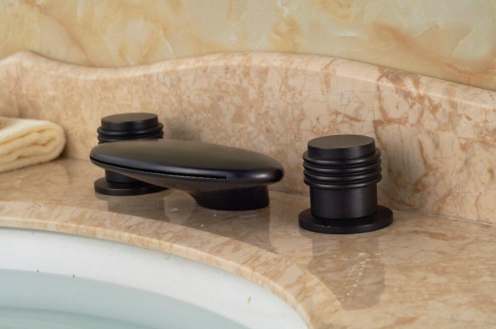 Black Color Deck Mounted 3 Holes Waterfall Spout Bathtub Filler Faucet