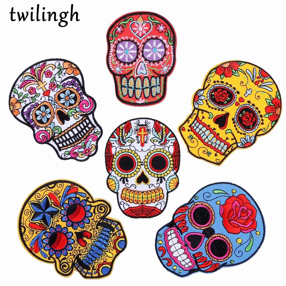 twilingh Patches Sewing Iron-On Accessories Patchworks Skull Embroidered Sequined Patches For Clothing