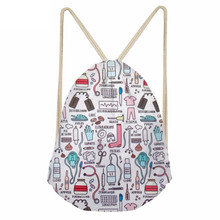 Fashion Cartoon Nurse 3D Printing Drawstring Bags for Teen Girls Softback Large Students backpack Storage Beach BagsSumka