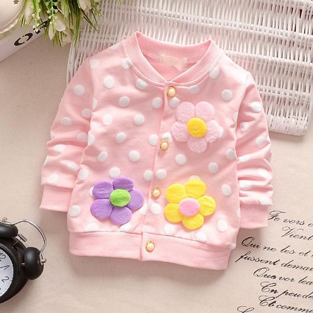 3 Colors Baby Girl Clothes Three Flower Dots Cardigan Long Sleeve Coat Sweatshirt For Girls Single Row Button Cotton