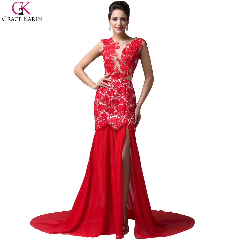 Grace karin cheap red lace embroidery prom dress mermaid for Night dresses for wedding night