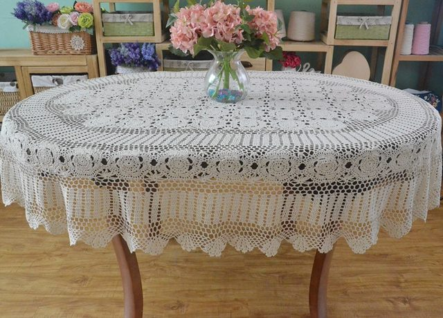 Handmade Beige Crocheted Tablecloth ,Lace Cotton Oval Table Cloth, Extra  Long Table Cover