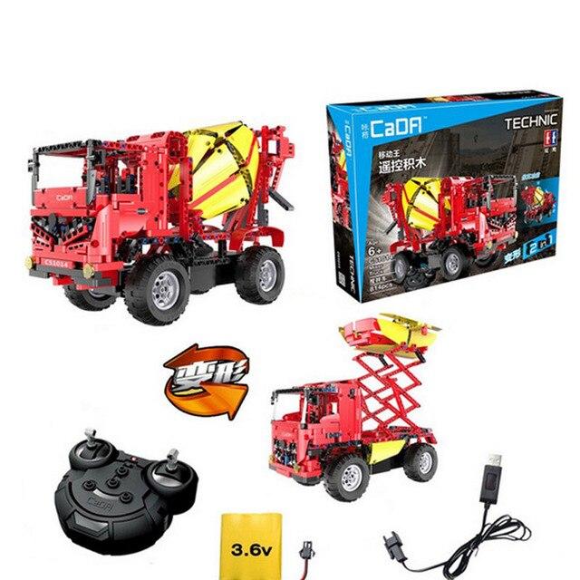 814 pcs Compatible with Lego Technic 60018 Remote Control RC Mixer Truck duplo auto sets Model building blocks brick toys