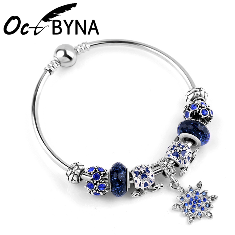 Kaisai 2018 New Stars Bracelets Silver Color Snowflake Pendant Bracelets with Pumpkin Car Women Pandora Bracelet Jewelry