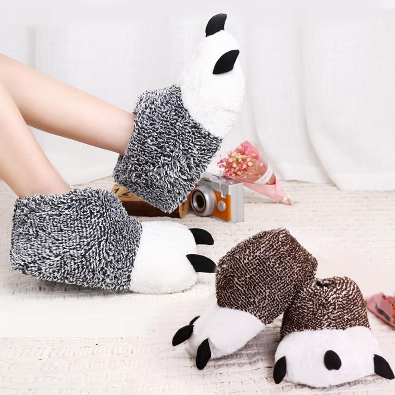 Cartoon Funny Bear Claw Indoor Slippers Men Women Winter Super Soft Velvet Plush Warm Home Slipper TPR Sole No Slip Cotton Shoes super slipper taipei