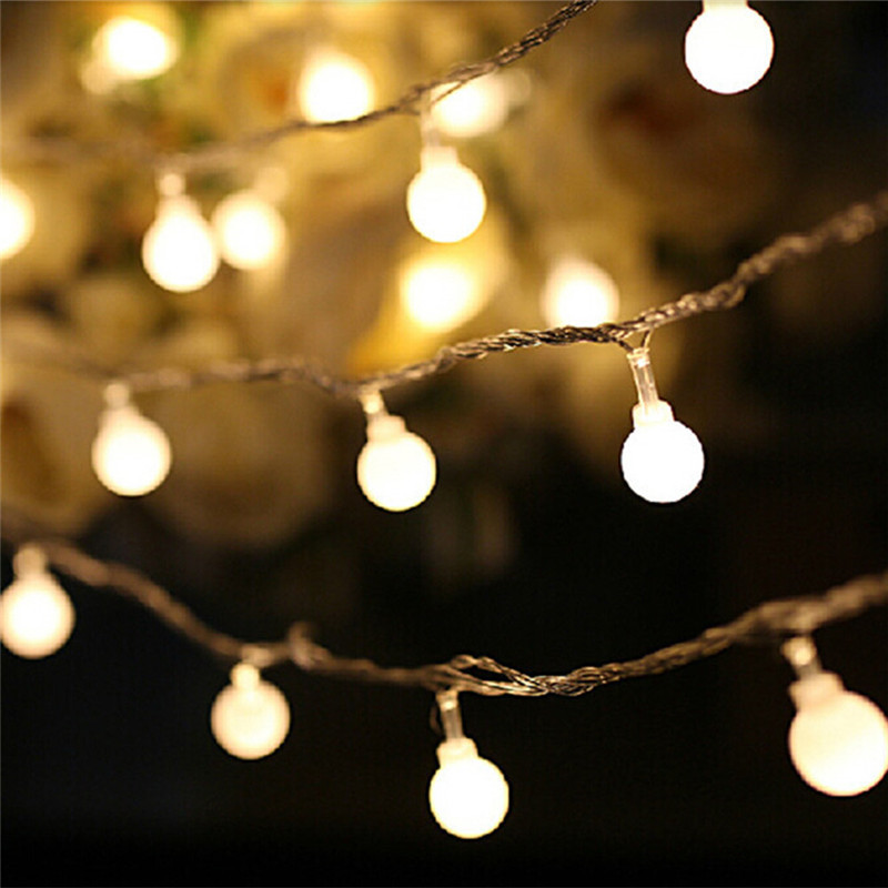 5M Led String Lights With 50led Ball 3*AA Battery Powered Holiday Decoration Lamp Festival Christmas Lights Outdoor Lighting