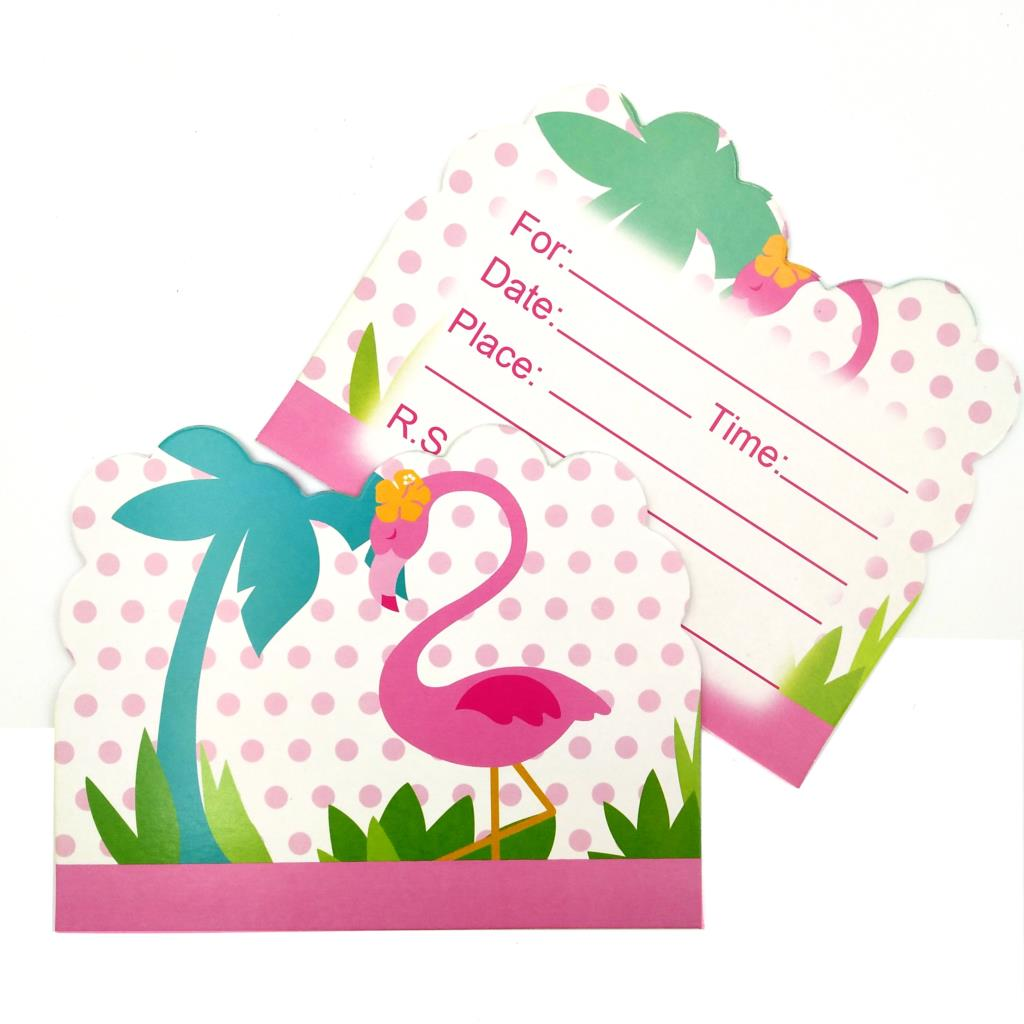 10pcs Set Flamingo Theme Party Paper Invitation Card Kids Happy Birthday Party Supplies Decoration Favors Cartoon Supplies