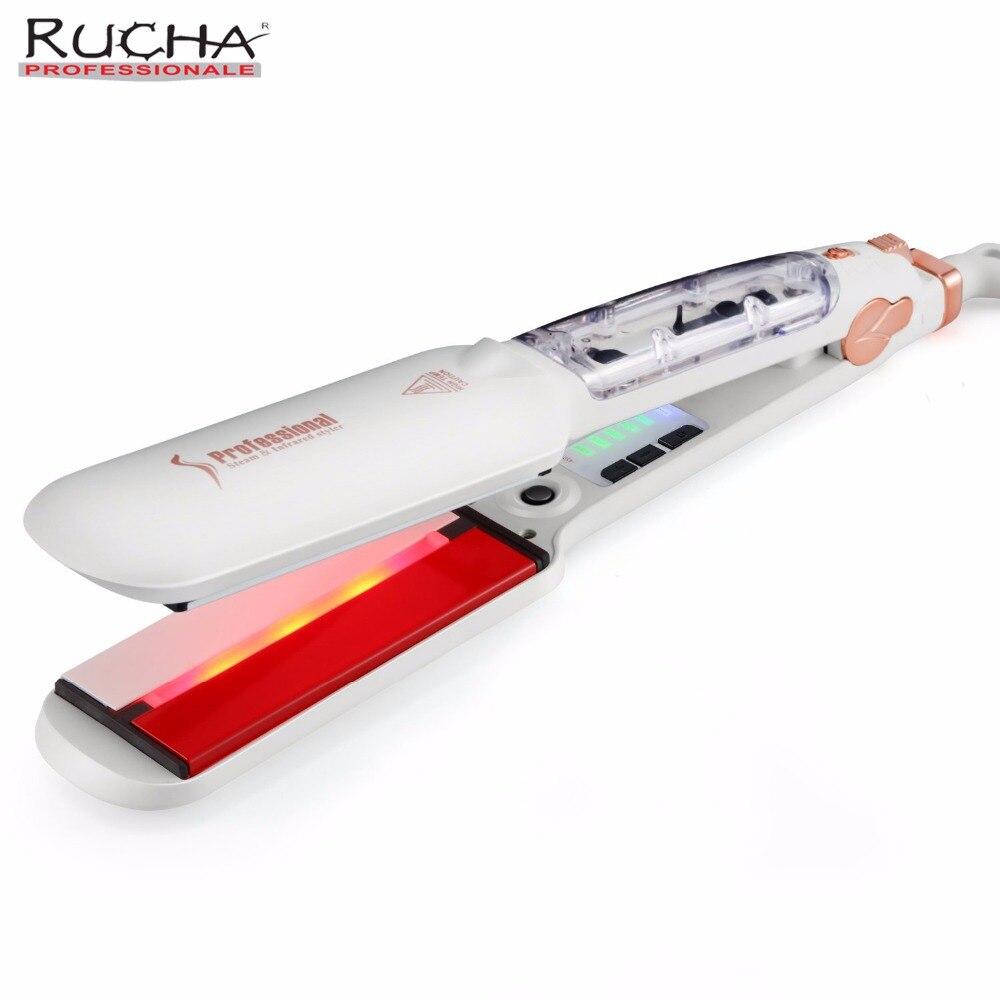 RUCHA double tension infrarouge vapeur défriser les cheveux 2 pouces de large plaque Salon de coiffure vapeur Styler céramique Tourmaline fer plat