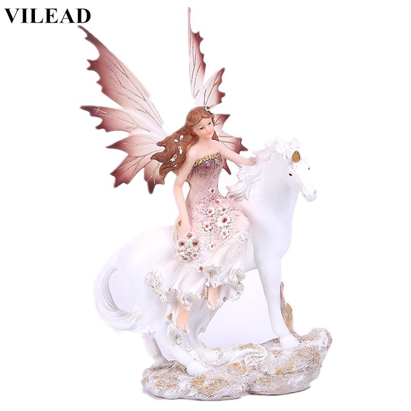 VILEAD 35cm Resin Forest Magic Unicorn Horn Angel Figurine Flower Fairy Horse Craft Miniature Vintage Home Decor Decoration