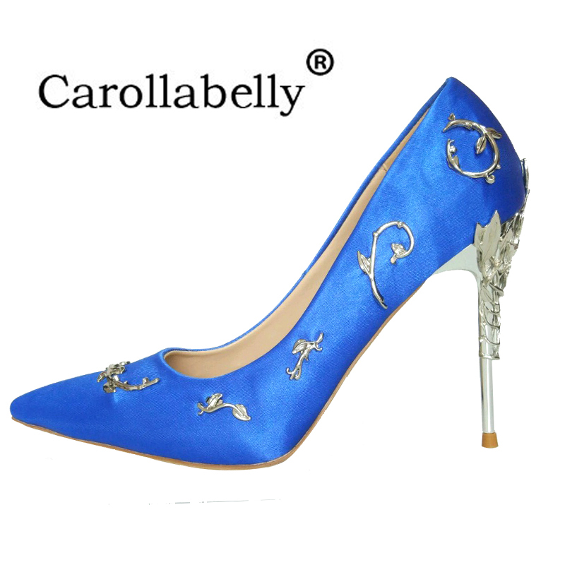 Women Pumps Shallow Pointed Toe Thin Heels New Wedding Shoes Bling Metal accessories Women Shoes