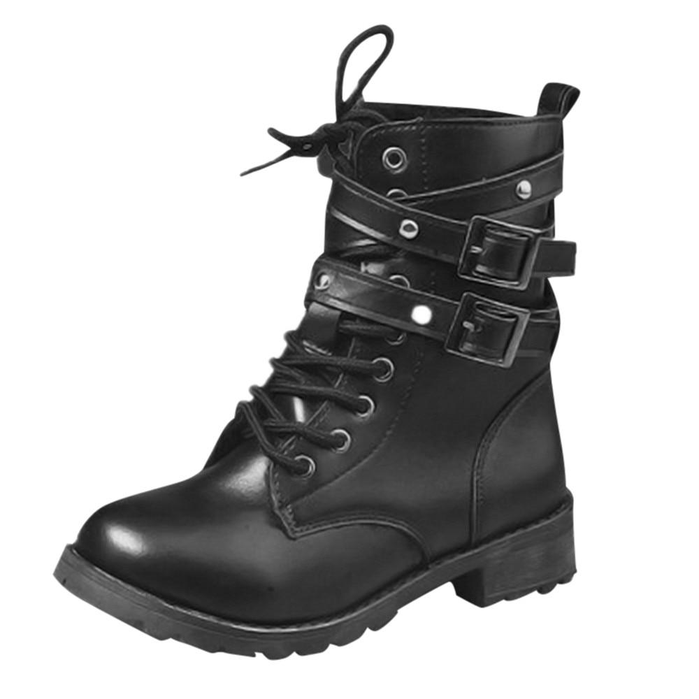 dc9b8b887 Charol Negro Mujeres Tobillo Genuino Motocicleta Cuero Plana Martin Bota  Mujer Zapatos De Botas Otoño Invierno 6Yq6O