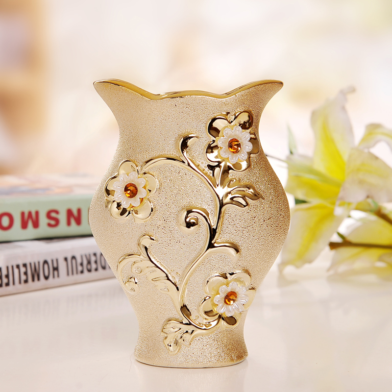 Morden di lusso Vaso di ceramica placcato in oro Home Decor Vaso di fiori decorativo di design creativo porcellana per regalo di nozze
