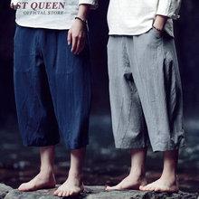 Китайский стиль белье Штаны мужчин от Белый лен Штаны мужские широкие брюки укороченные сплошной цвет Мужские Лен Штаны M-XXXL NN0501 YQ