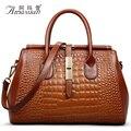 Роскошный мода новый женщины аллигатор тиснение натуральная кожаная сумка дикий женщин сумки на ремне свободного покроя тотализатор Bolsos Mujer BH1224
