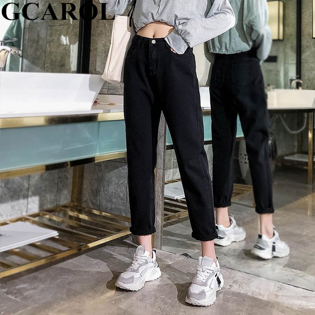 GCAROL 2019 Spring Fall Elastic Waist Retro Old Pants Ankle Length First Love Loose Vintage Straight Pants Plus Size 25-32 2