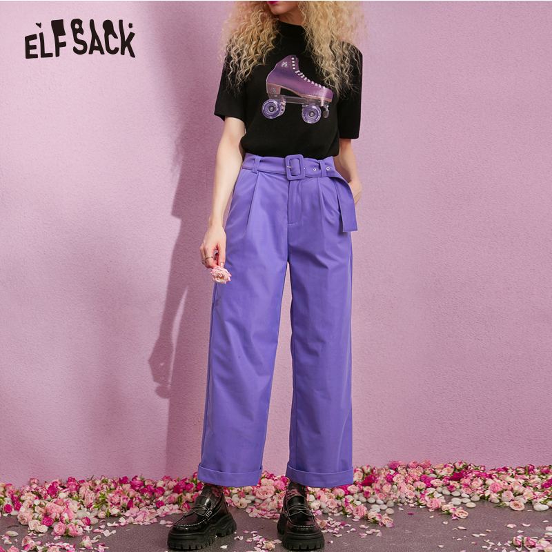 ELFSACK New Woman Wide Leg Pants Casual Knitted Mid Drawstring Trousers Women Solid Streetwear Full Length Femme Purple Pants