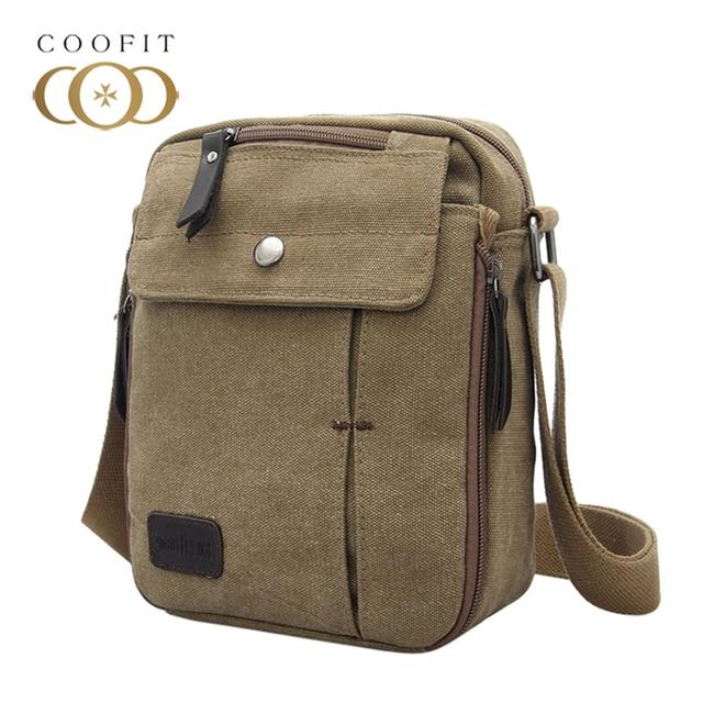Coofit 2018 Vintage Multi Pockets Canvas Messenger Bag For Men Teens Boys  Retro Travel Crossbody Bag 4d649ebce2