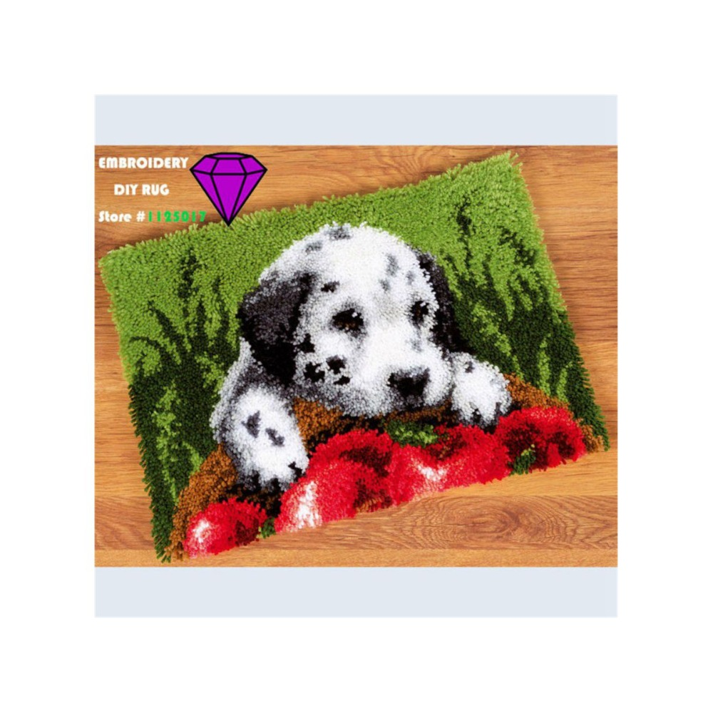 Rug Dogs Embroidery Designs: Cross Stitch Carpet Cushion Picture Dog Carpet Yarn