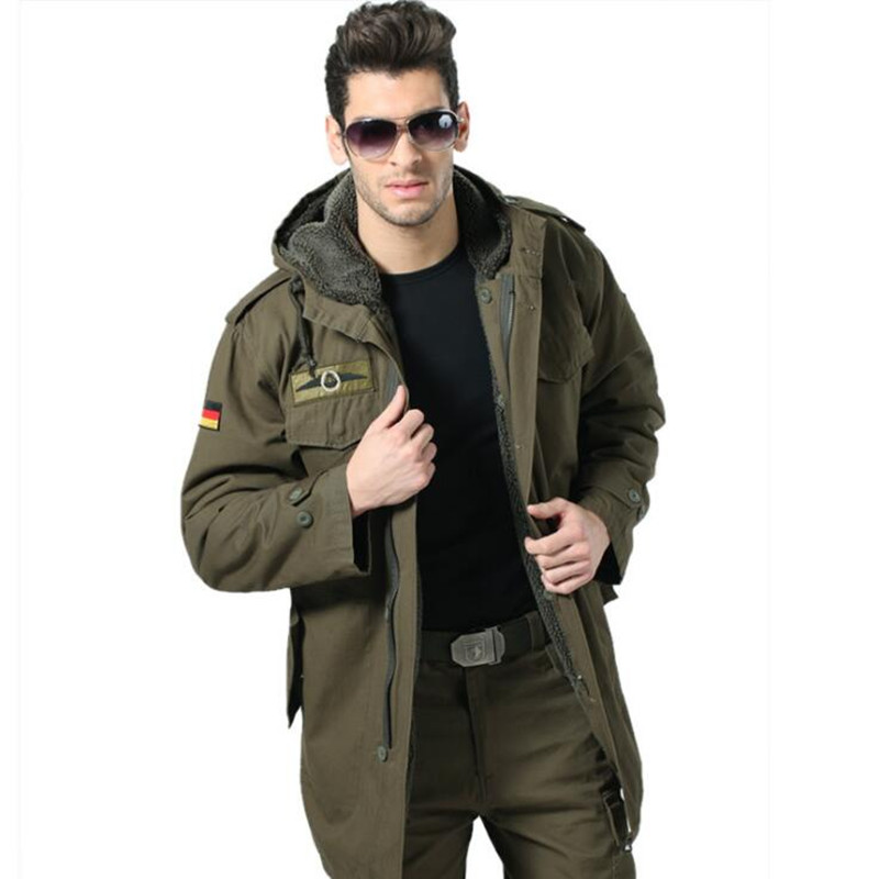 Winter Men Army Tactical Hooded Cotton Military Jacket Windbreaker Outdoor Hiking Thermal Fleece Detachable Linning Coat Outwear