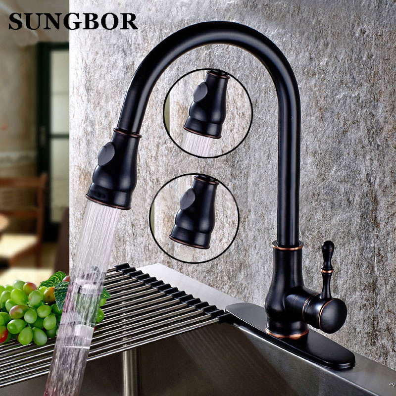 Brushed Brass Kitchen Faucet Black Finish Solid Pull Out Kitchen Mixers Tap 360 Degree Rotation Cold Hot Water Mixer Tap -9133H newly arrived pull out kitchen faucet gold chrome nickel black sink mixer tap 360 degree rotation kitchen mixer taps kitchen tap