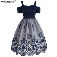HimanJie Lace Embroidery Women Dress Vintage Robe Summer Feminino Rockabilly Retro Sleeveless Swing Party Short Dresses