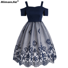 HimanJie lace embroidery cotton Women Dress Vintage Autumn feminino Rockabilly Retro off shoulder strap ball gown Dress Vestides