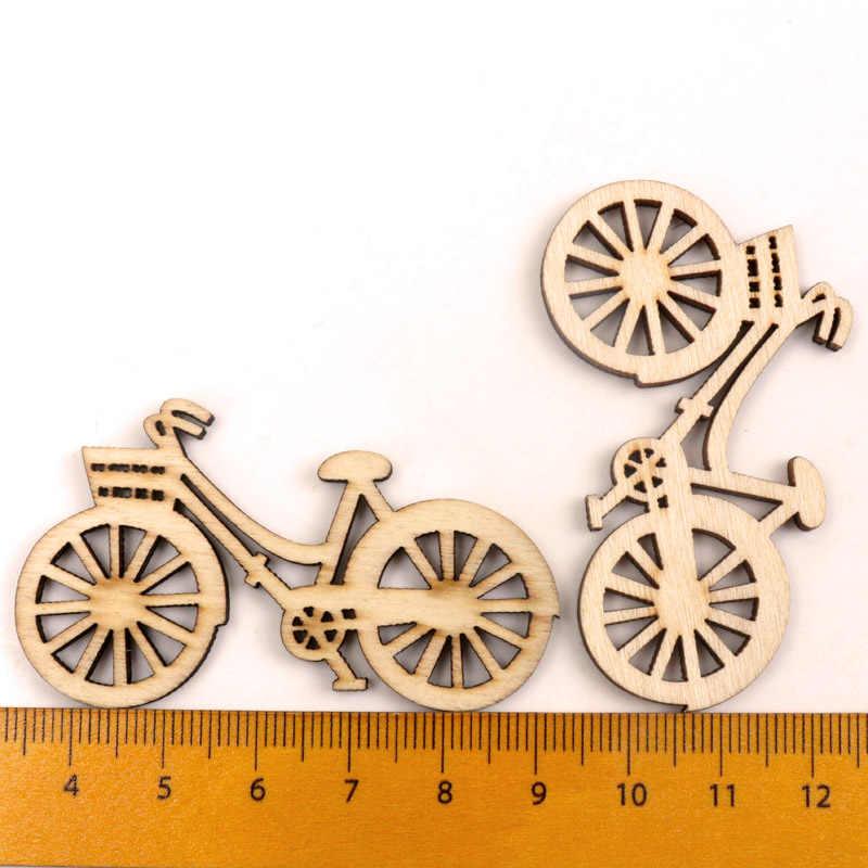 Handmade rzemiosło drewniane akcesoria do dekoracji domu Scrapbookings DIY Mix rower ozdoby z drewna 35*60mm 10 sztuk