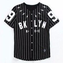 GMANCL Men/Women Mesh V-Neck Jersey Hip Hop Street T-Shirts Tee New T-shirts Men Striped Baseball Jersey Blick Punk Tee Shirts