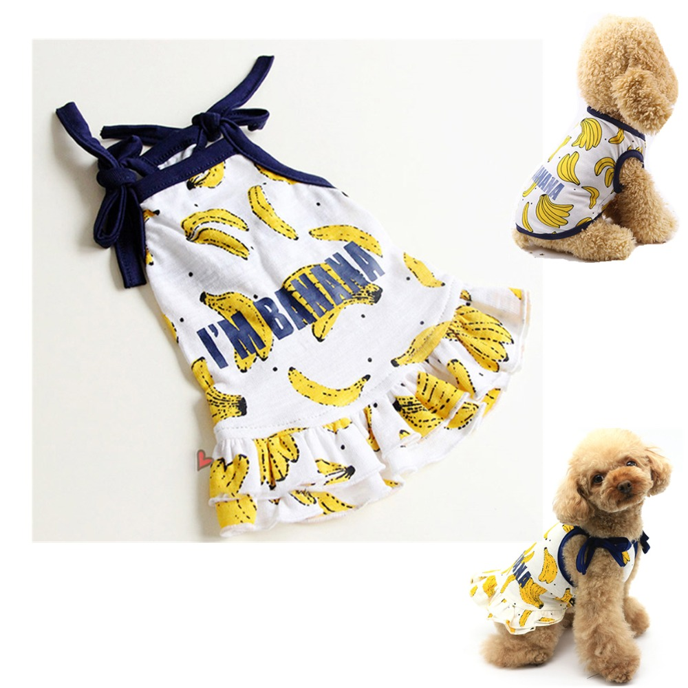 D98 Newest Summer Pet Dog dress and T shirt Lovely Banana Pet Couple suit Puppy dog Cat Vest Dog Skirts For Small dog Yorkshire