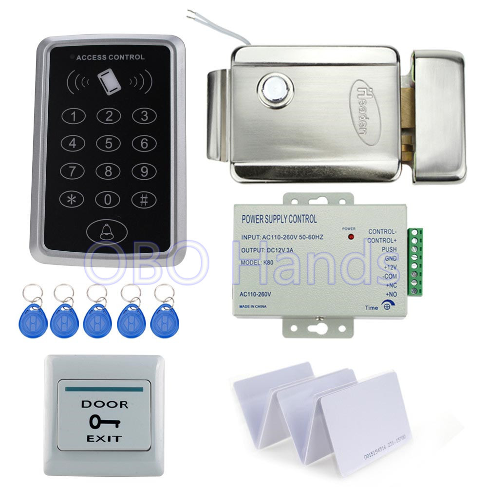 Full set kit of RFID access control reader T11 digital lock+electric control lock+power supply+exit button+10pcs ID key cards rfid door access control system kit set with electric lock power supply doorbell door exit button 10 keys id card reader keypad