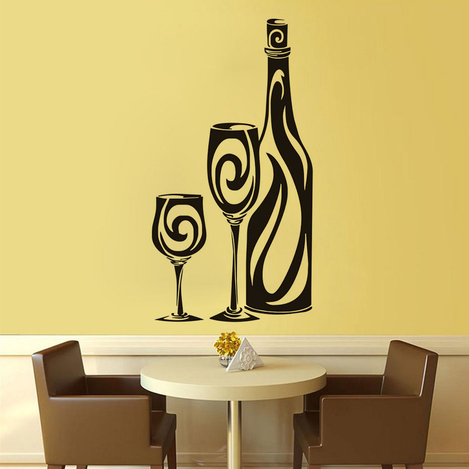 Wine Bottle Hollow Out Wall Sticker Home Decor Art Vinyl Glass ...