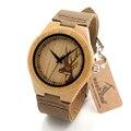 2016 Tamanho De Bambu das Mulheres Dos Homens do Design Da Cabeça Dos Cervos De Madeira Relógios De Madeira De Luxo Relógios de Quartzo Com Pulseira De Couro Marrom