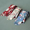 Fashion Casual Style Mens Cotton 6 cm Skinny Ties for Men Floral Print Groom Wedding Business Neckties for Suit Shirt Neckwear