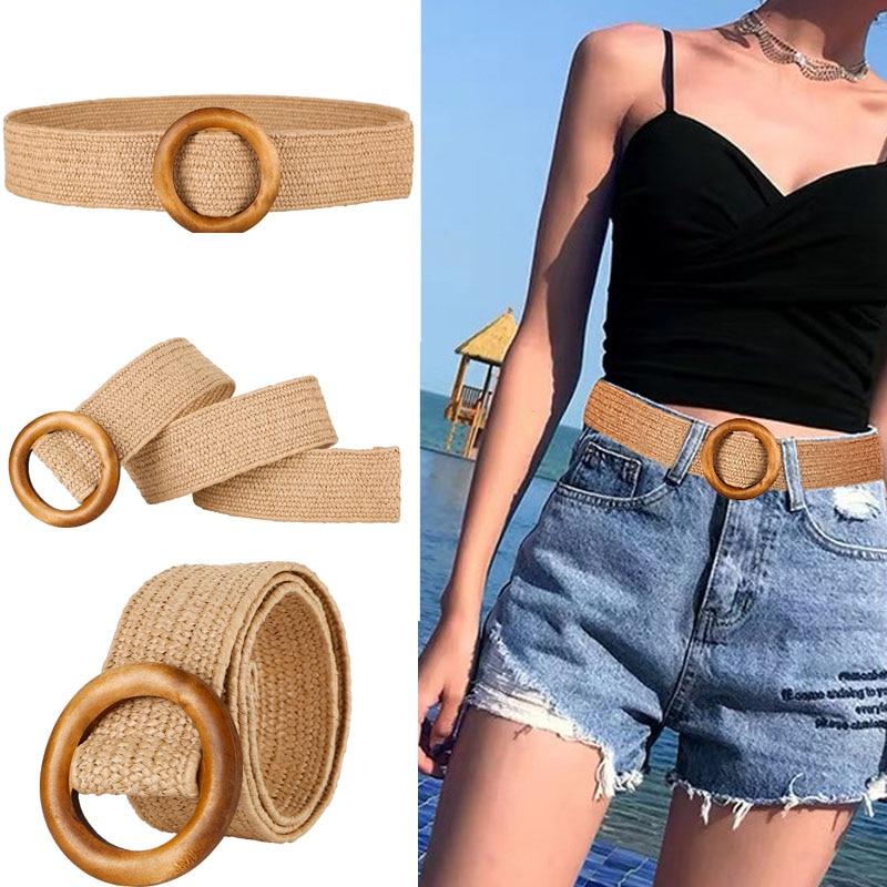 Wooden Button   Belt   For Women Elastic Straw   Belt   Decoration for Dress   Belt   Casual Female   Belt   Accessories 2019