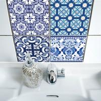 Funlife Autoadhesivo Azul y Blanco Porcelana Arte De La Pared A Prueba de agua adhesivo de Azulejo de la Cocina Muebles de Baño Decoración TS010