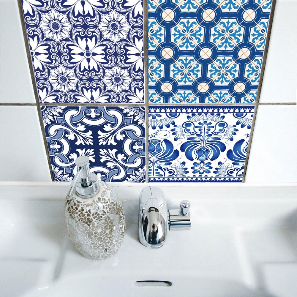 Carrelage Salle De Bain Auto Adhesif ~ funlife auto adh sif bleu et blanc porcelaine mur art tanche