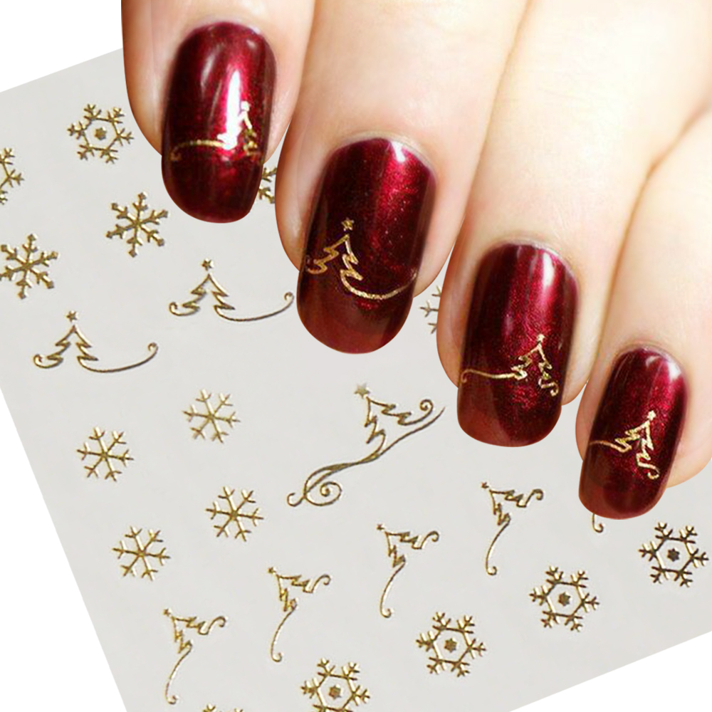 1pcs Gold  Water Transfer Nail Art Sticker Decal Cute Snowflake Christmas Tree New Year Designs DIY Shining Manicure SAY037-gold one bottle cute white little snowflake pattern nail sticker