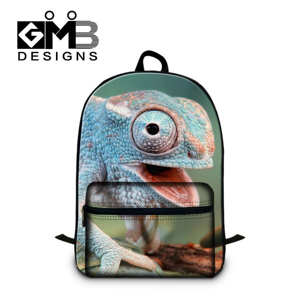 4c24679e0 Dispalang Design Portátil Crianças Escola Bags Animal Mochilas Escolares  Estudantes Mochila Mochila Mochila Para Os Meninos Dos Homens Camaleão