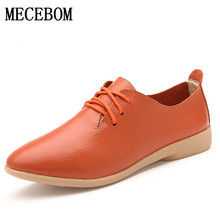 Casual Ballet Shoes Women Leather Women's Loafers Lace-Up Woman Flats Shoe Flexible Peas Footwear Big Size 35-44 929W