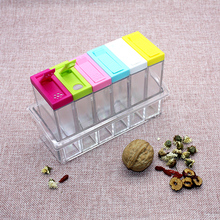 Spice Jar Seasoning Box 6Pcs/Set Kitchen Storage Bottle Jars Transparent Salt Pepper Cumin Powder Tools Drop ship
