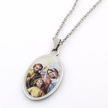 316L Stainless Steel 12style Custom Initial Pendant Necklace Charm Jewelry Christ Virgin Mary Jesus