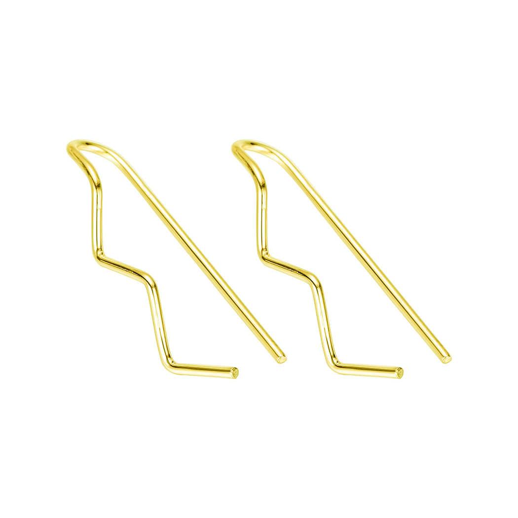 QIMING פשוט אוקיינוס גל עגילי נשים אוזן מטפס סורק לעטוף זהב עגיל הרבעה שרוול אוזן שברון תכשיטים
