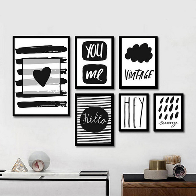 Modern black white quote art canvas painting poster prints wall art picture paintings for living room