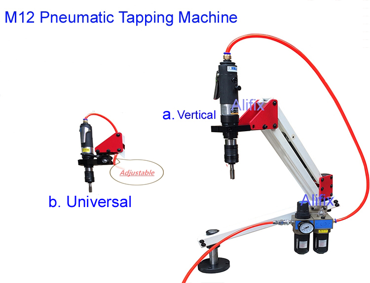 Top Quality Vertical Universal Flexible Pneumatic Tapping Machine Arm Collet M3 M12 with 6pcs Collet