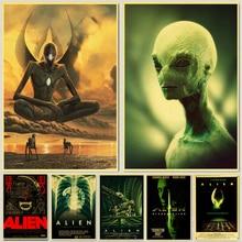 Vintage Alien película clásica retro carteles Kraft papel de pared de alta calidad pintura para el hogar Decoración de pared pegatinas